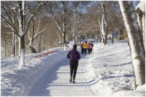 Runners training in winter