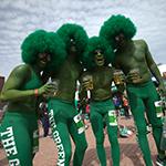 Green guys at finish