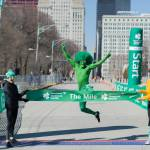 Green Guy at the finish of The Mile